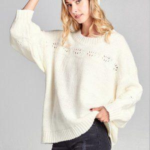 Ivory Eyelet Cutout Chunky Knit Oversize Sweater